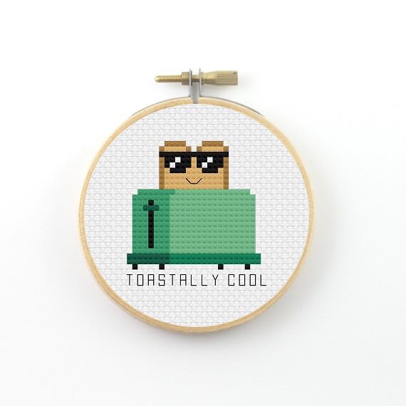 The cute and funny toastally cool cross stitch pdf pattern is the latest addition to the pun series I am building up for my patrons. Toastally cool cross stitch pdf pattern