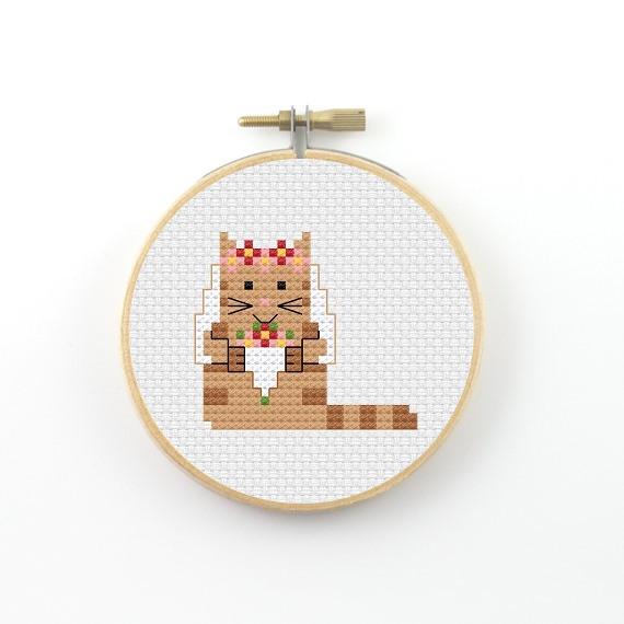 Bride cat cross stitch pdf pattern