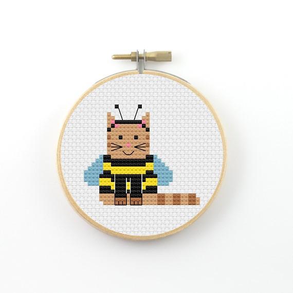 Bee cat cross stitch pdf pattern