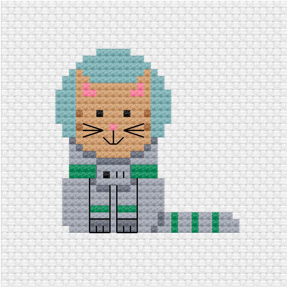 Cat astronaut cross stitch pdf pattern