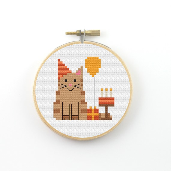 Birthday cat cross stitch pdf pattern