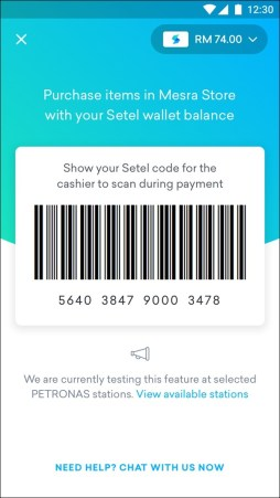 cashless payment with setel e-wallet