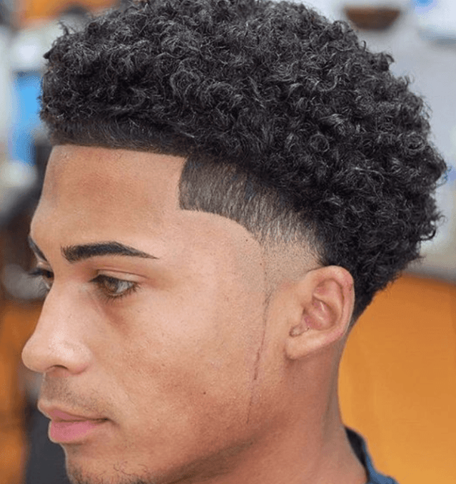 Curly Temple Fade Haircuts