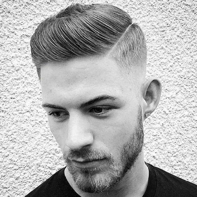 Medium Slicked Pomp High Fade Hairstyle