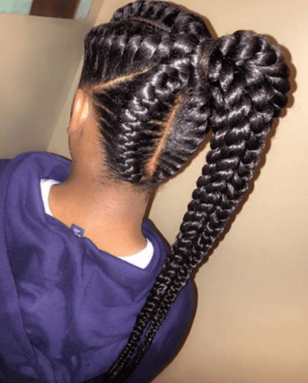 Ponytail and Braid for black girl