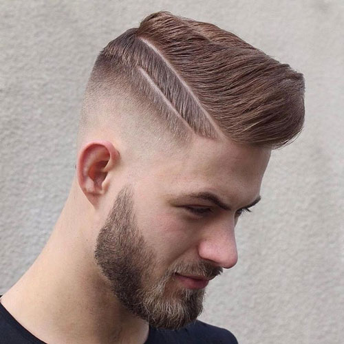 High bald Fade Comb Over with line