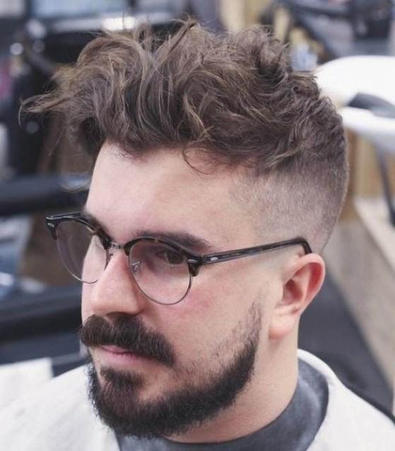 Messy Short Sides Long Top Haircut with beard