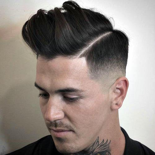Mid Razor Fade with Pomp and line