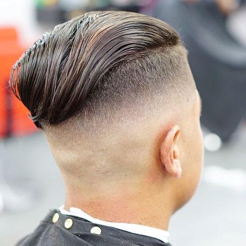Mid bald Fade Wavy Slick Back
