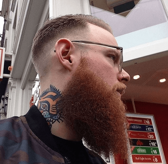 Beard Contrasted with skin Fade Taper
