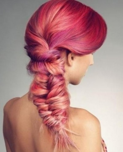 Massive and intricate fishtail braid with red hues