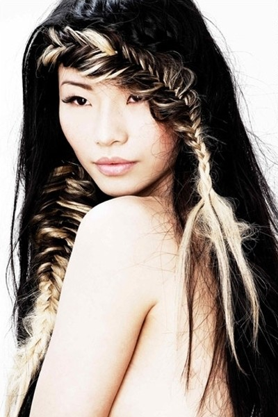 Sweet long black hair with a great fishtail fringe