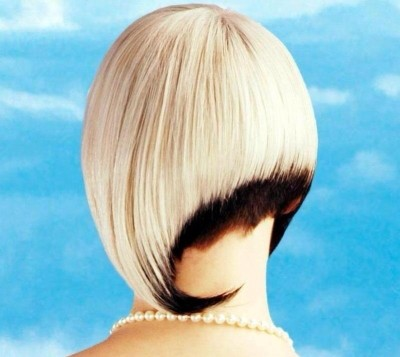 Ultra-trendy Assymetrical Bob with Contrasting Colors