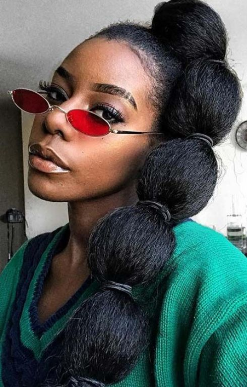 Sky-high Weave Bubble Ponytail Hairstyles