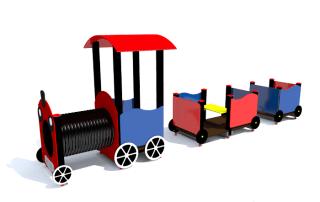 plac zabaw Lokomotywa zadaszona tuba z wagonami [z151c] -Tematyczne place zabaw
