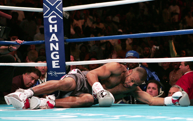 Roy Jones Jr. on the mat against Antonio Tarver