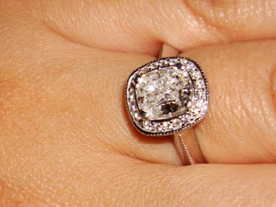 Cushion Cut Engagement Ring With Halo Setting Double