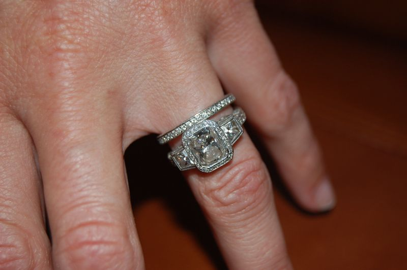 Three Stone Radiant Cut Engagement Ring With Vintage