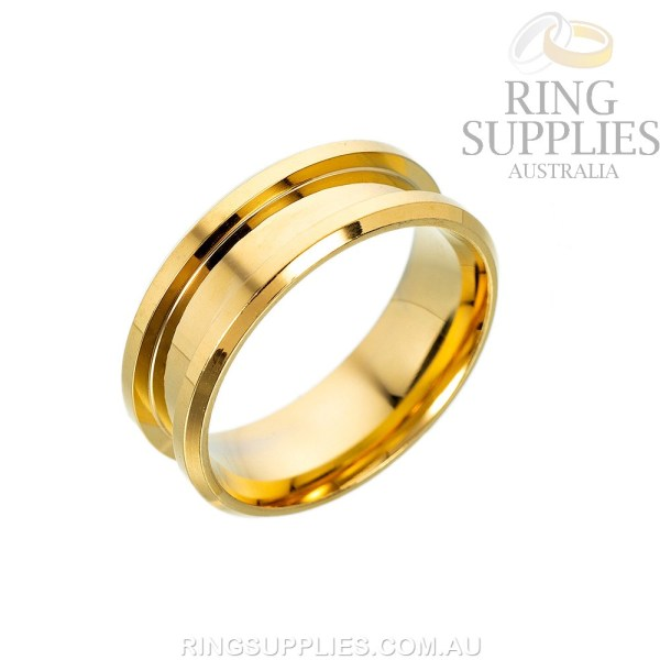 Gold coloured stainless steel ring blank with inlay channel