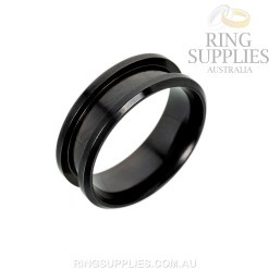 Black coloured stainless steel ring blank with inlay channel