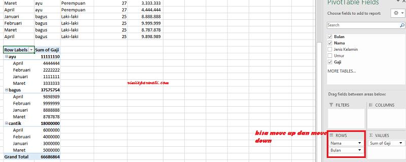 Cara menampilkan data yang sama di excel dengan pivot table