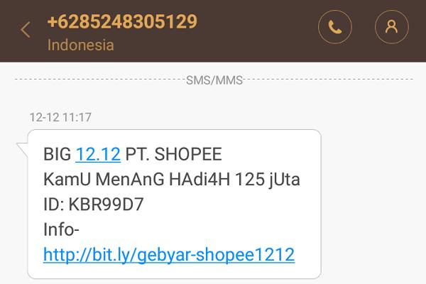 SMS Penipuan Dengan Kedok Shopee Berhadiah Gratis, Jangan Percaya!