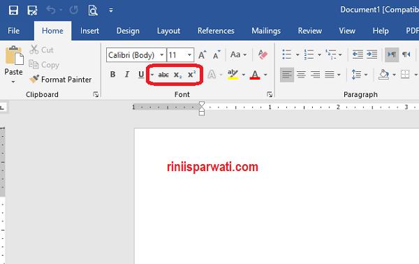 Fungsi Strikethrough, Superscript, dan Subscript Pada Microsoft Word
