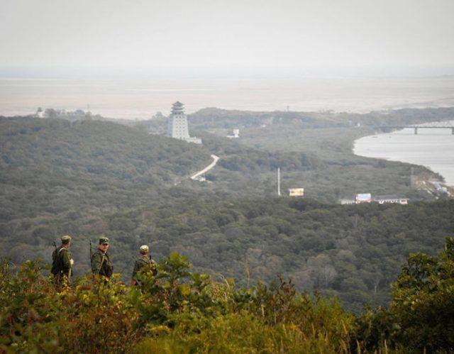 The beautiful Zaozyonara Hill at the North Korea, China, Russia tri-border