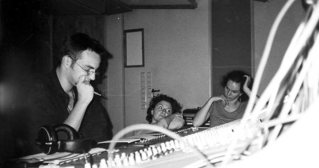Marcel Sude and two bandmembers of Savoy Truffle at a mixing session