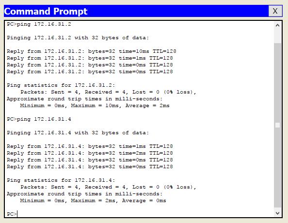 Uji ping pada konfigurasi trunking vlan