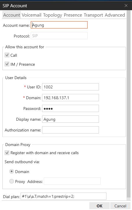 menambahkan akun client menggunakan X-Lite