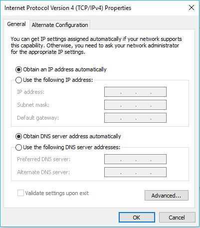 Konfigurasi DHCP client di Windows 10