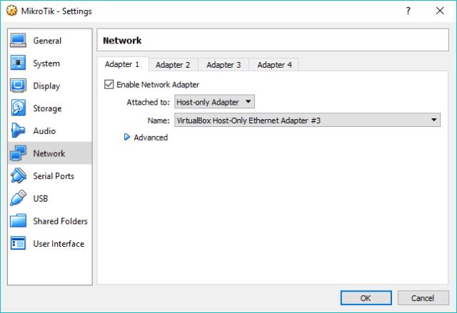 Konfigurasi host only adapter di VirtualBox