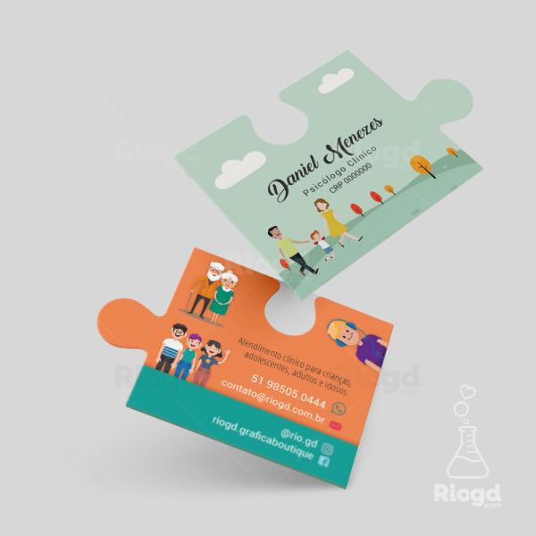 Cartão de Visita Psicologia Quebra Cabeça Happy Family
