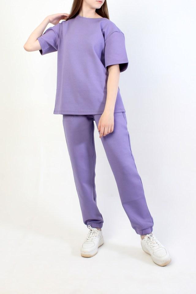 костюм из футера фиолетовый