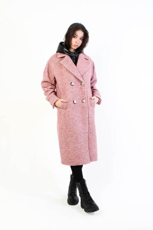 Твидовое пальто Nova розовое