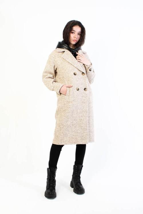 Твидовое пальто Nova бежевое
