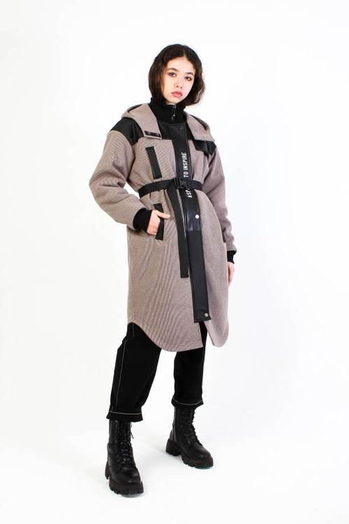 Пальто из вареной шерсти Sher темно-бежевый