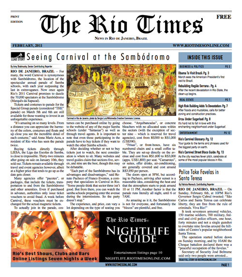 Front page of the February issue of The Rio Times Print edition.