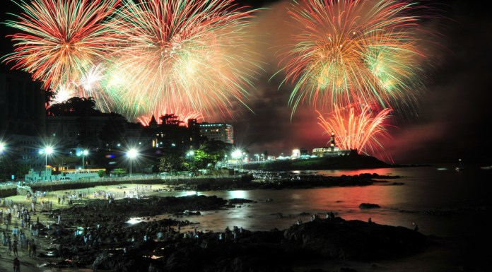Firework light up the sky in Forro da Barra in Salvador, Brazil News