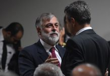 Former Petrobras director, Paulo Roberto Costa, speaks to Congressmen in Brasilia about corruption scandal