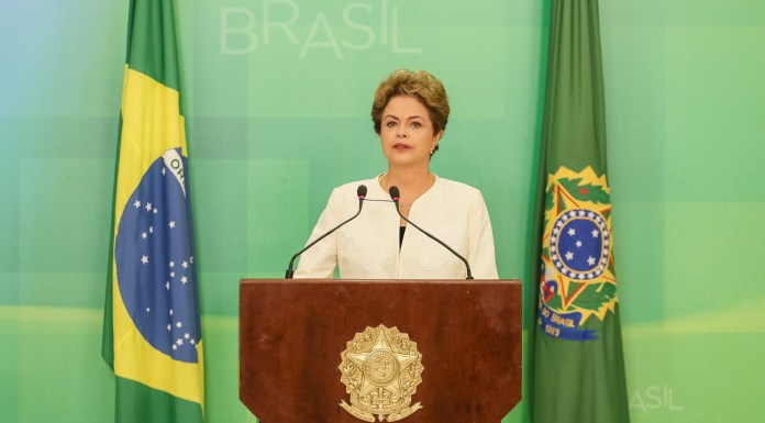 Brazil's President Dilma Rousseff addresses the nation after announcement of impeachment proceedings will be opened,