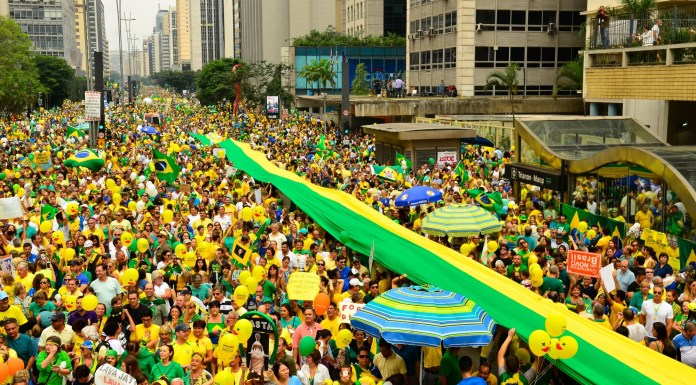 Brazil, São Paulo, Protests like these in São Paulo took over one million to the streets against corruption