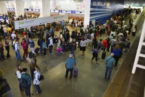 Brazil,Passengers at Brasilia's airport face long lines to pass through security gates before Olympics,