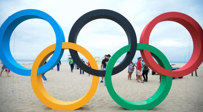 Brazil,Olympic Rings placed on Copacabana Beach as Rio gets ready for the 2016 Games.