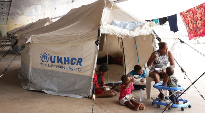 Brazil,One of the shelters in Roraima set up by the Brazilian Armed Forces and the United Nations for Venezuelans refugees