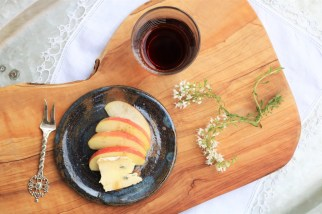 Apples with Gorgonzola, local honey, and Durango hickory smoked sea salt.
