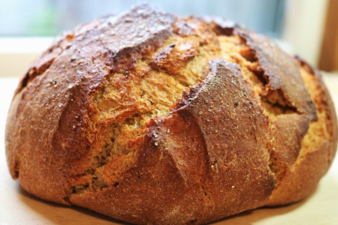 Swedish limpa bread, a rye bread with orange zest and crushed caraway, fennel, and anise seeds