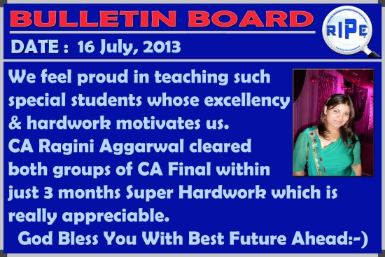 Ragini result Bulletin Board