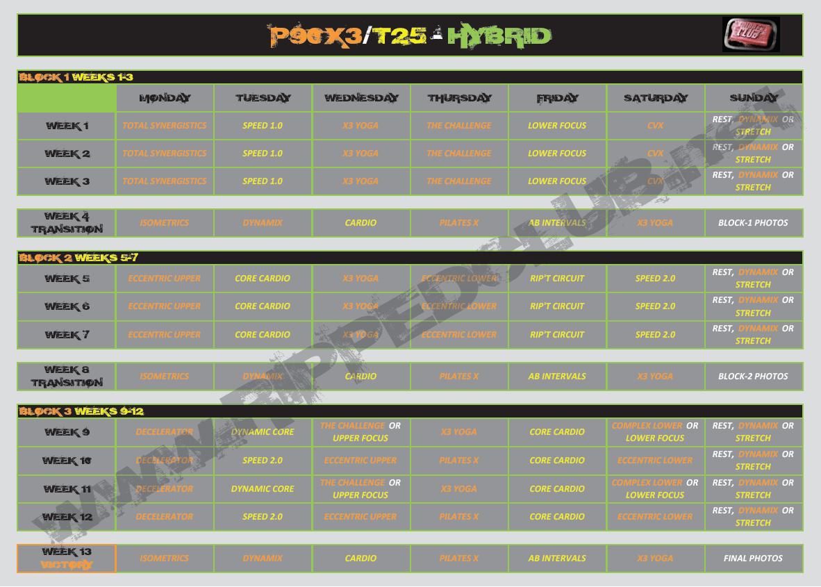 Inventive T25 Schedule Printable